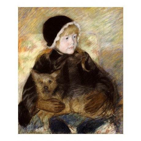 "MARY STEVENSON CASSATT ""Elsie Cassat Holding Dog"" PRINT various SIZES, BRAND NEW"