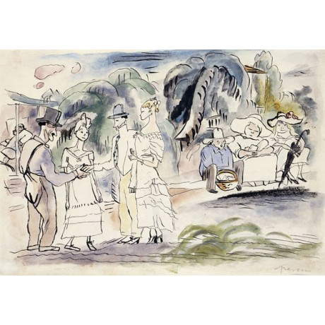 DELIGHTFUL NEW CANVAS PRINT! In Florida HAUGHTY woman men waiting JULES PASCIN