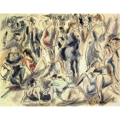 ATTRACTIVE NEW CANVAS American Beach CROWDED holiday swim costume JULES PASCIN