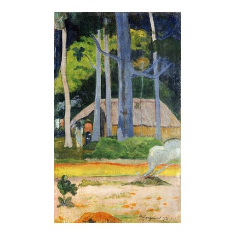 "PAUL GAUGUIN ""Hut In Trees"" print ON CANVAS NEW choose SIZE, from 55cm up, NEW"