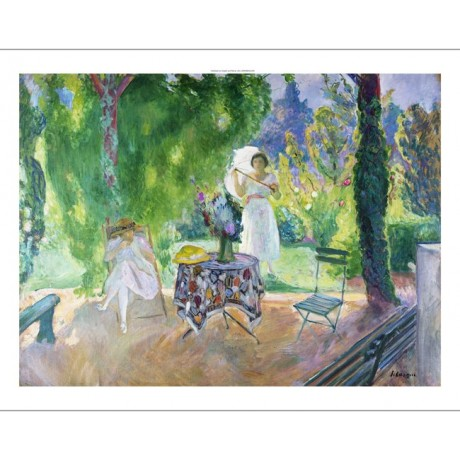 LEBASQUE Le Dejeuner DINNER al fresco french parasol shade garden CANVAS PRINT