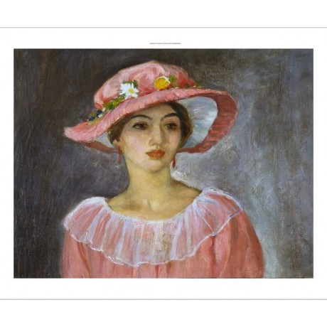 "HENRI LEBASQUE ""Le Chapeau Rose"" hat rose PINK lace collar NEW CANVAS PRINT"