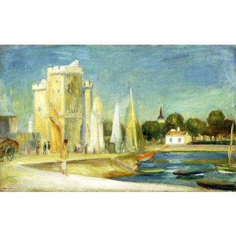 PIERRE AUGUSTE RENOIR Port de la Rochelle moored boats on a CALM sunny day NEW