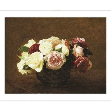 "HENRI FANTIN-LATOUR ""Roses"" Art CANVAS EDITION choose SIZE, from 55cm up, NEW"