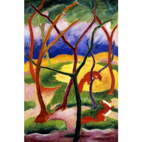 """FRANZ MARC """"Playing Weasels"""" cute animals PLAYFUL modern colourful wood two NEW"""
