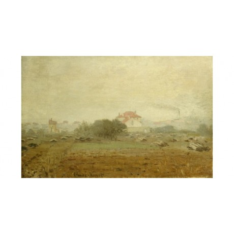 "CLAUDE MONET ""Fog"" landscape print ON CANVAS choose SIZE, from 55cm upwards, NEW"