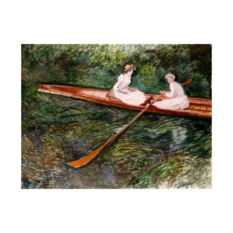 Claude MONET Pink Rowing Boat portrait ON CANVAS choose SIZE, from 55cm up, NEW