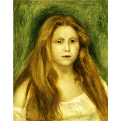 "PIERRE AUGUSTE RENOIR ""Head of Girl"" blonde long-haired YOUNG woman green NEW!!"