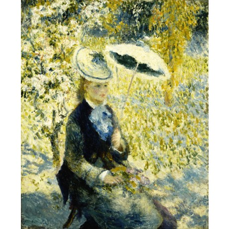 PIERRE AUGUSTE RENOIR The Umbrella BLONDE woman shade yellow sunny NEW CANVAS!
