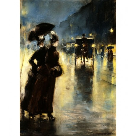 LESSER URY Nactbeleuchtung night-time ILLUMINATION women cross street rain NEW