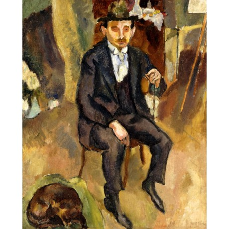 JULES PASCIN Man and Dog (Portrait of a German Painter) LOYALTY asleep CANVAS!