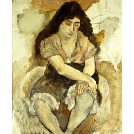 JULES PASCIN Young Woman Sitting in CONTEMPLATION frill brunette CANVAS PRINT!