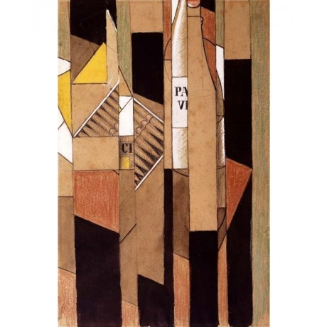 "INGENIOUS COLLAGE on CANVAS ""Still-life with Bottle and Cigars"" brown JUAN GRIS"