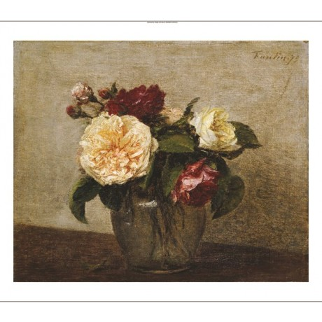 "HENRI FANTIN-LATOUR ""Red And Yellow Roses"" ON CANVAS various SIZES available"