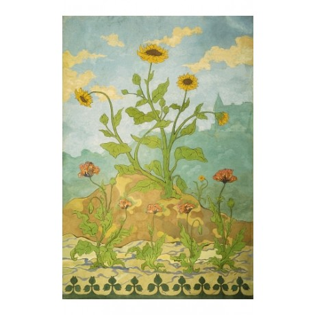 "RANSON ""Sunflowers And Poppies"" HIGHLY DECORATIVE wildflowers summer NEW CANVAS"