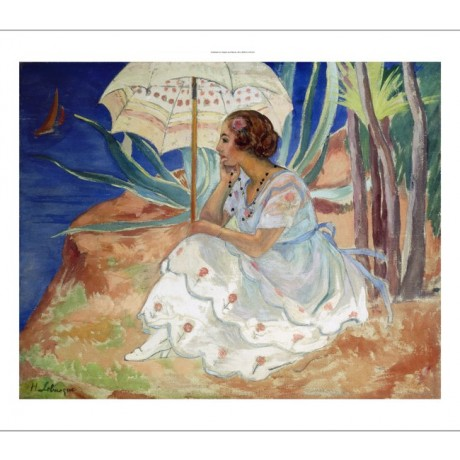 "LEBASQUE ""Young Woman With Umbrella Saint Maxime"" INTENSE blue daydream CANVAS"