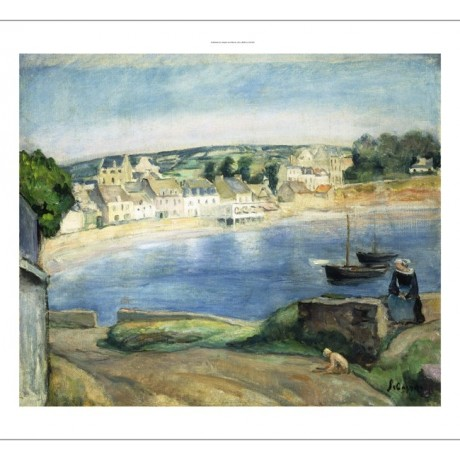 HENRI LEBASQUE Breton At Miget PICTURESQUE beach peaceful village CANVAS PRINT