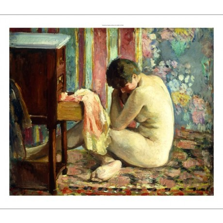 LEBASQUE Nude With Pink Shirt VULNERABILITY foetal position chemise rose CANVAS