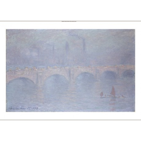 "CLAUDE MONET ""Waterloo Bridge"" London print ON CANVAS various SIZES, BRAND NEW"