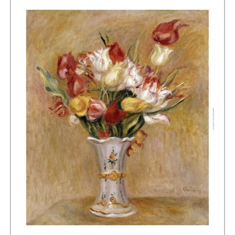"PIERRE-AUGUSTE RENOIR ""Tulipes"" Art CANVAS EDITION choose SIZE, from 55cm up"