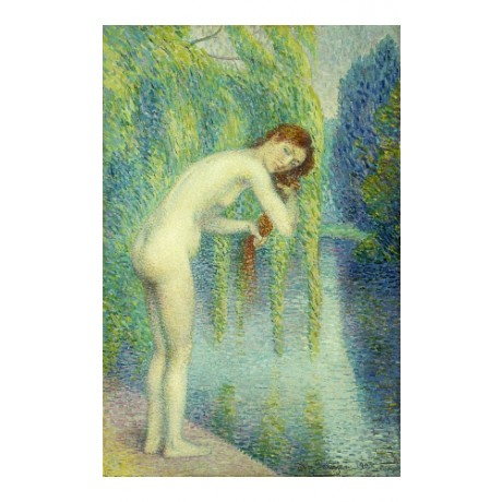 "PETITJEAN ""Bather Washing Her Hair"" REDHEAD willow tree riverbank CANVAS PRINT"