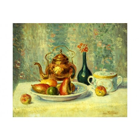 "PETITJEAN ""Still Life"" BRONZE teapot tabletop fruit pear plate sugarbowl CANVAS"