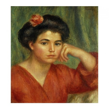 "RENOIR ""Young Woman With A Rose"" BRUNETTE leaning red flower sadness NEW CANVAS"
