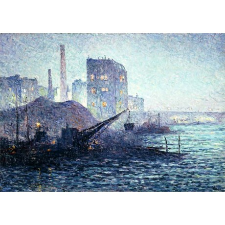 MAXIMILIEN LUCE The Thames in London RIPPLE silhouette skyline river ON CANVAS