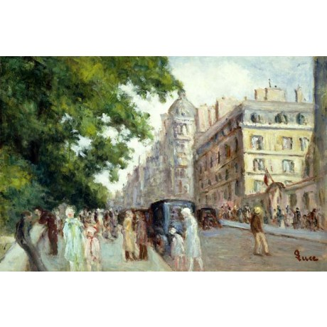 MAXIMILIEN LUCE Street Scene in Paris city BUSTLE people car scene NEW CANVAS!