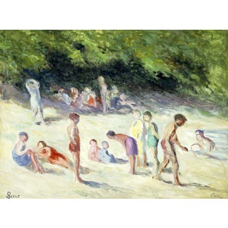 "MAXIMILIEN LUCE ""The Bathers of Mericourt"" summer HOLIDAYS beach swimming NEW!"