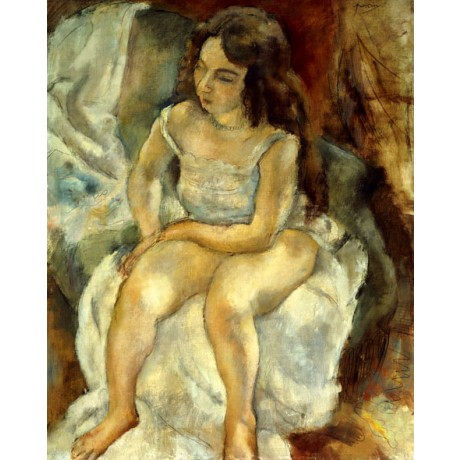 JULES PASCIN The Model woman semi-nude BARE sitting in vest barefoot NEW PRINT