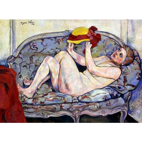 SUZANNE VALADON Nude Reaching on a Sofa naked woman DRAPED dress hat ON CANVAS
