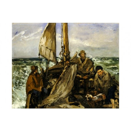 "EDOUARD MANET ""Workers Of Sea"" print ON CANVAS choose SIZE, from 55cm up, NEW"