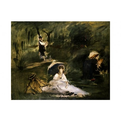 "EDOUARD MANET ""Under Trees"" print ON CANVAS choose SIZE, from 55cm upwards, NEW"
