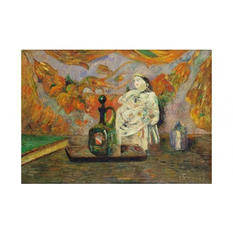 PAUL GAUGIN Still Life With Ceramic Figurine MODERN tray glass book NEW CANVAS