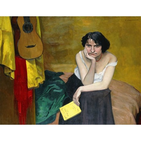 "Felix Vallotton ""Woman and Guitar"" strap falling off shoulder NEW CANVAS PRINT"