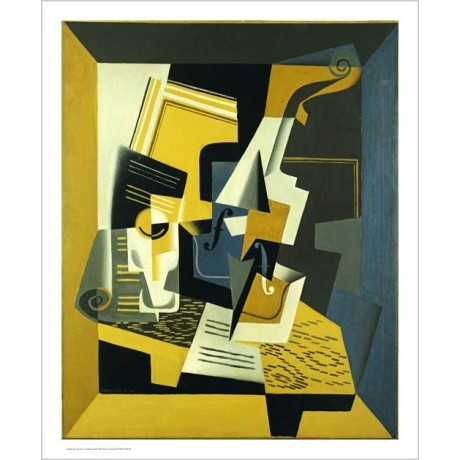 "JUAN GRIS ""A Violin And Glass"" Art CANVAS EDITION choose SIZE, from 55cm up, NEW"