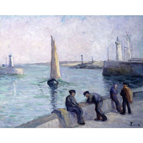 "MAXIMILIEN LUCE ""Fishermen on the Dock"" HARBOUR sailing lighthouse CANVAS PRINT"