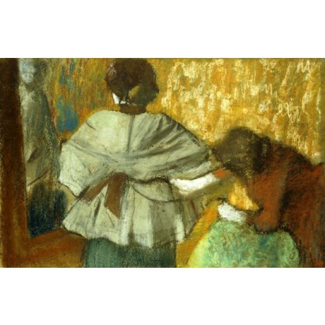 EDGAR DEGAS At the Couturiere the Fitting adjusting JACKET rear view woman NEW