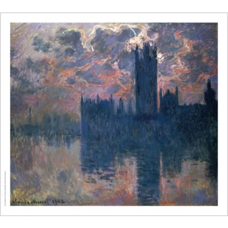 "CLAUDE MONET ""Parliament, Sunset"" print ON CANVAS choose SIZE, from 55cm up, NEW"