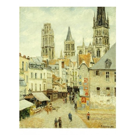 CAMILLE PISSARRO Rouen landscape print ON CANVAS choose SIZE, from 55cm up, NEW