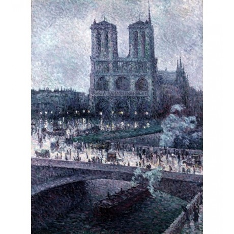 MAXIMILIEN LUCE Notre Dame CATHEDRAL bridge PARIS river twilight CANVAS PRINT!