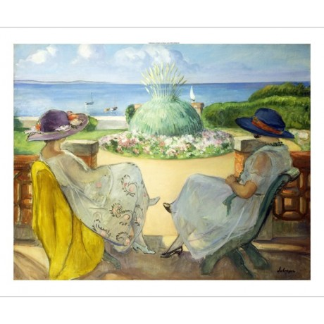 "LEBASQUE ""Two Young Women Terrace Sea"" LEISURE friendship hat fountain CANVAS"
