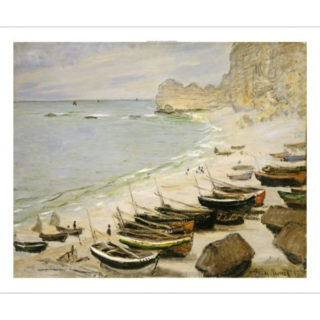 "CLAUDE MONET ""Boat On Beach At Etretat"" print ON CANVAS various SIZES, BRAND NEW"
