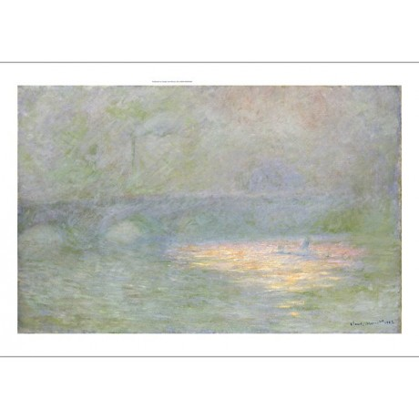 "CLAUDE MONET ""Waterloo Bridge"" print ON CANVAS choose SIZE, from 55cm up, NEW"