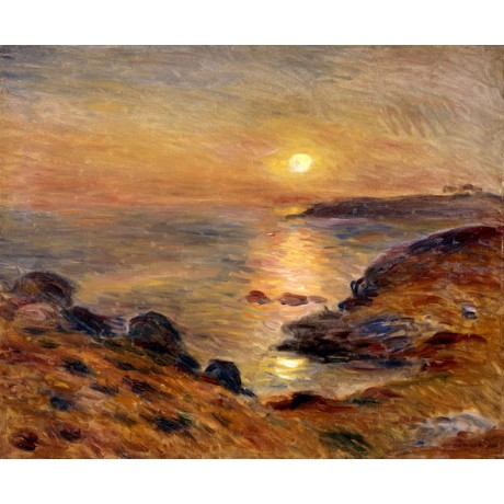 "PIERRE AUGUSTE RENOIR ""The Setting of the Sun at Douarnenez"" TRANQUIL sea NEW!"