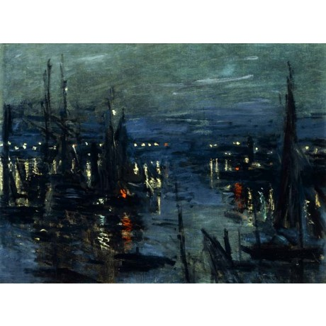 CLAUDE MONET The Port of Le Havre, Night Effect dark sea REFLECTION mast NEW!!