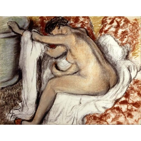 EDGAR DEGAS After the Bath, Woman Drying naked BUTTOCK breast towel ON CANVAS!