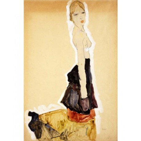 EGON SCHIELE Kneeling Girl with Spanish Skirt naked with ATTITUDE modern NEW!!