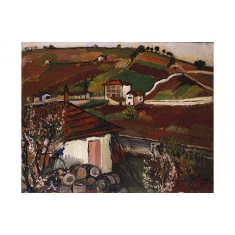 SUZANNE VALADON Houses In The Country field PATCHWORK barrel home CANVAS PRINT